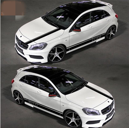 Car Styling Whole body 2 Pcs BK Material Auto Car Body Styling Vinyl Decal Graphics Sticker Fit for Mercedes Benz A180 A200 A260 car styling auto amg sport performance edition side stripe skirt sticker for mercedes benz g63 w463 g65 vinyl decals accessories