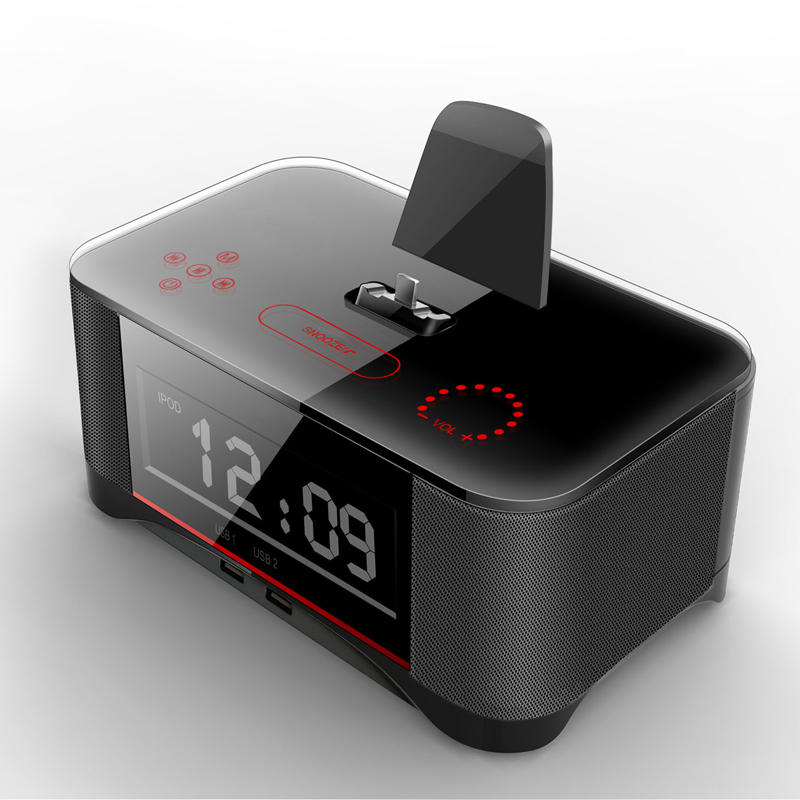 2017 New Bluetooth speaker subwoofer alarm clock mobile phone into the head of the bed with a small wireless audio base NFC