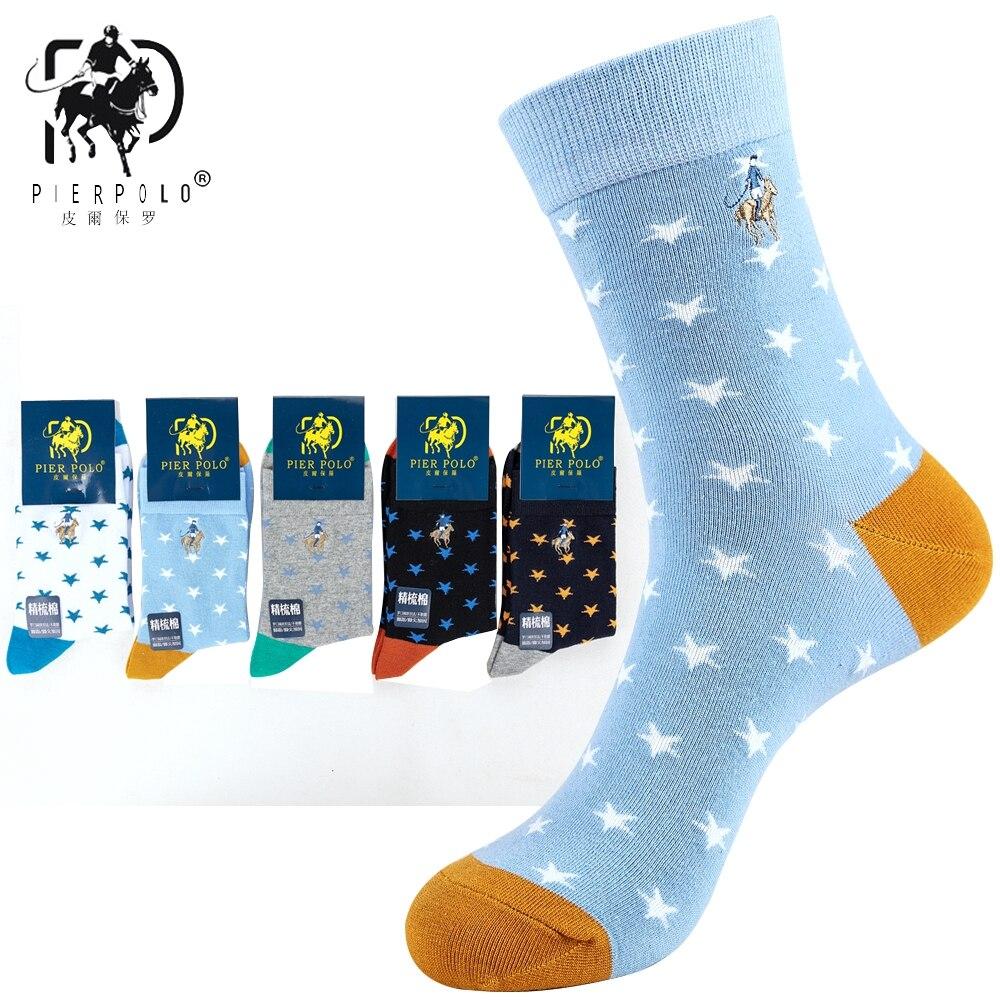 5 Pairs High Quality Brand PIER POLO Star Happy Socks Men Casual Cotton Crew Socks Fashion Embroidery Autumn Winter Men's Socks