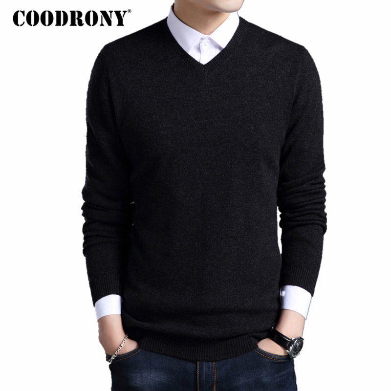 COODRONY Sweater Men Pullovers V-Neck Merino Wool Autumn Winter Homme Thick Casual And