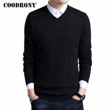 COODRONY мериносовая шерсть свитер мужской осень зима толстые теплые свитера и пуловеры Повседневный v-образный вырез свитер из чистой шерсти Pull Homme 7305