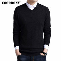COODRONY Merino Wool Sweater Men Autumn Winter Thick Warm Sweaters And Pullovers Casual V Neck Pure Wool Sweater Pull Homme 7305