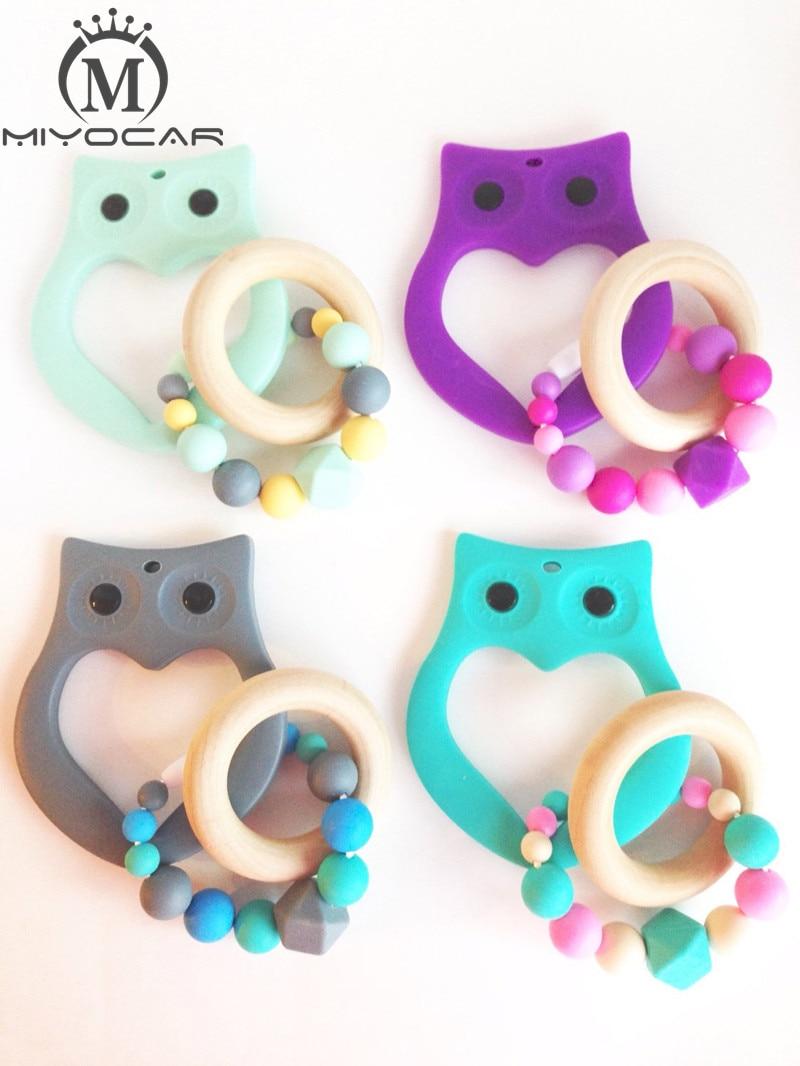 Silicone Safe FDA Food Grade Owl Teething Ring Tula Teether Teething Beads Silicone Chew Beads, Bite Bead