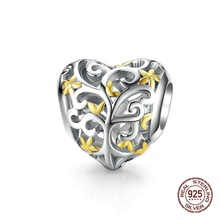 Genuine 925 Sterling Silver Beads Tree of Life Heart Shape Charm Jewelry Making fit Original Pandora Bracelets Women DIY