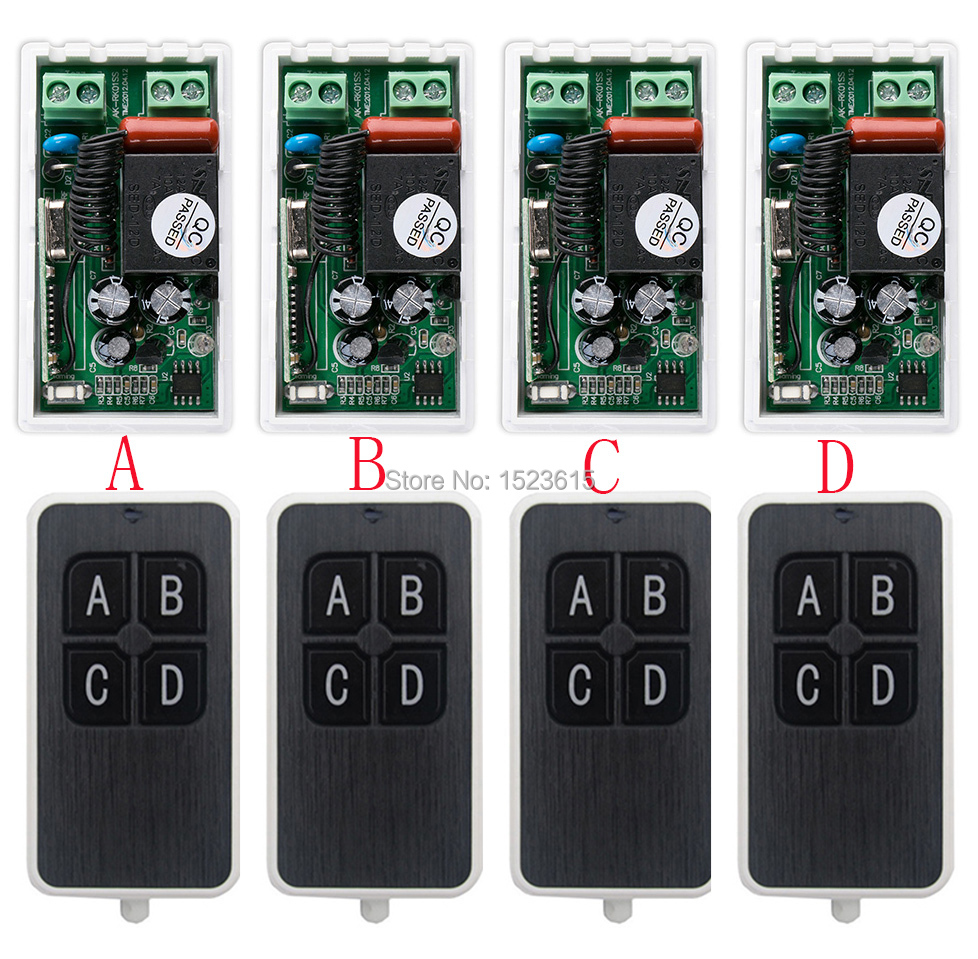 most simple wiring AC220V 1CH 10A wireless remote control switch system 4X Transmitter + 4X Receiver relay smart house z-wave simple and practical ac220v 1ch wireless remote control switch system1transmitter