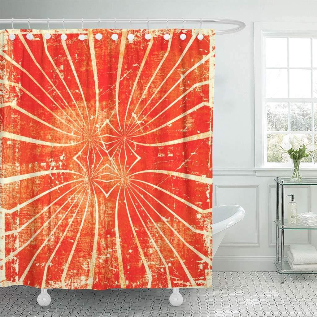 Shower Curtains Bathroom Curtain Colorful Circus Grunge Abstract Orange Sun Artistic Beams Blots Bright Color Bath Aliexpress