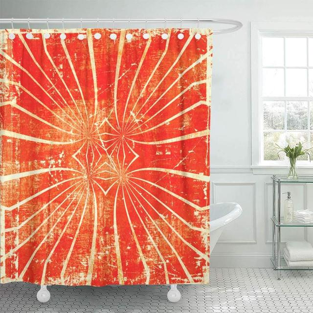 Shower Curtains Bathroom Curtain Colorful Circus Grunge Abstract Orange Sun Artistic Beams Blots Bright Color Bath