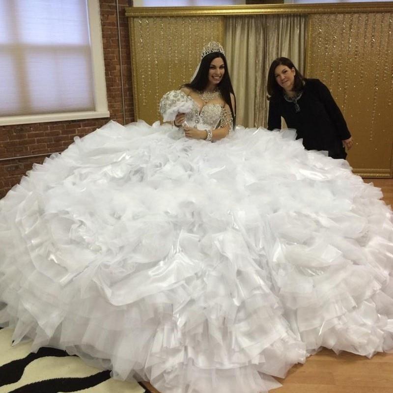 De luxe robe de noiva robe de mariage 2017 Sexy Brillant Blanc Organza  Tulle robe de