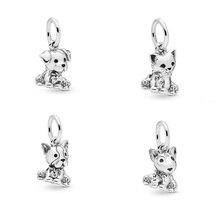 925 Sterling Silver Beads Sweet Cat Bulldog  Bull Terrier Labrador Dog Charm fit Original Pandora Bracelets Women DIY Jewelry