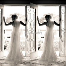 Hot Sale One Layer Tulle Wedding Accessories Cut Edge Ivory and White Chapel Length One Later Cheap Bridal Veil 2015