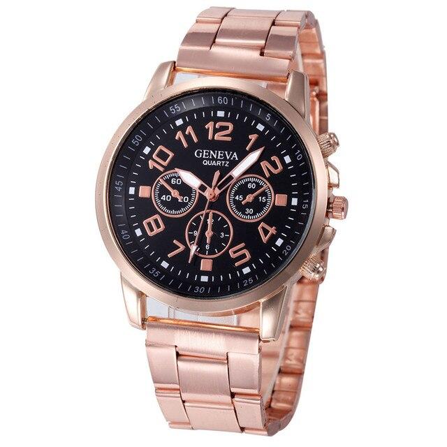 2dd1d5d684e Relogio feminino Relógio das Mulheres de Vestido de Luxo Preto Relógio de  Aço Inoxidável Esporte Quartz