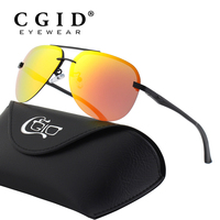 CGID Premium Al Mg Alloy Aviator Polarized Sunglasses UV400 Full Mirrored Spring Hinges Sun Glasses For