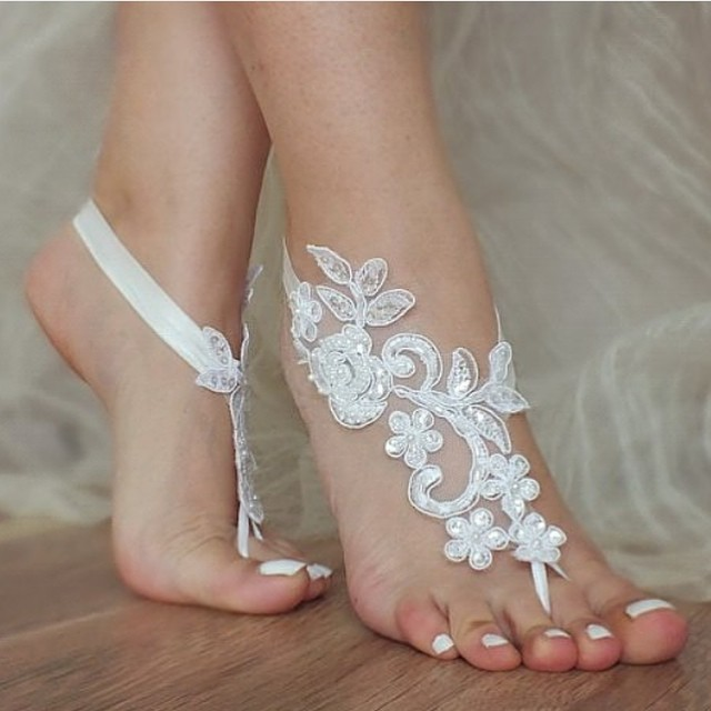 Fashion One Pair Lace Appliqued Barefoot Wear Beach Bridesmaid Yoga Footwear Anklet For Bridesmaids AFA01 In Dresses From Weddings Events On