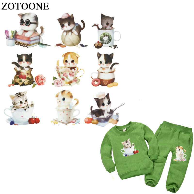Candy Cats Series Heat Transfer Patches Kids Household Iron-on Washable Patch DIY Decoration Appliqued Parches for Baby Dress
