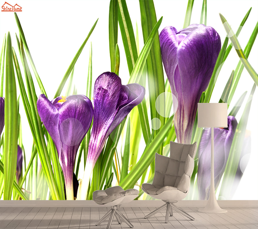 Crocus 3d Photo Nature Mural Wallpaper 3d Wallpapers For Living Room Contact Wall Paper Papers Home Decor Flower Murals Rolls