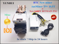 Used AntMiner T9+ 10.5T Bitcoin BCH BTC Miner With BITMAIN 1600W PSU Economic Than Antminer S9 S9i S9j Z9 Mini WhatsMiner M3