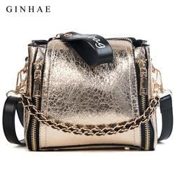 Bright Women Bags Small Chain Shoulder Bag Ladies Luxury Pu Leather Handbags Casual Zipper Crossbody Bags Wide Strap Sac 2018