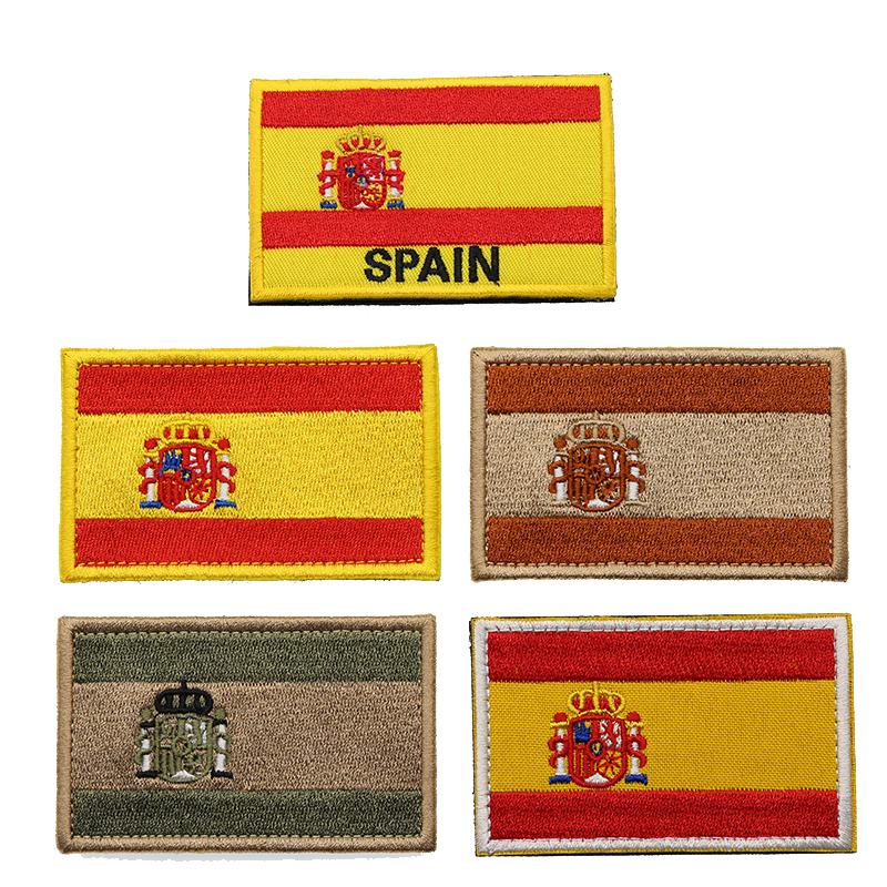 Spain Flag Armband Embroidered Patch Hook And Loop Embroidery Badge Cloth Military Moral Stripe Cloth Embroidery Label Stickers(China)