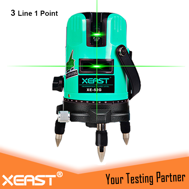 XEAST 3 line 1 point Green laser level 360 degree rotary cross laser line level,tilt mode Self Leveling laser level meter kapro clamp type high precision infrared light level laser level line marking the investment line