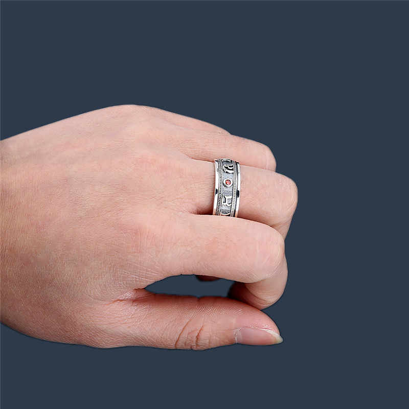 V.YA VINTAGEไทยแหวนเงินชายOM MANI PADME HUM 925 เงินสเตอร์ลิงแหวนผู้ชายเครื่องประดับบุรุษ