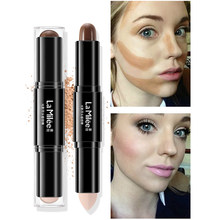 LAMILEE Double Head 3D Bronzer Highlighter Stick Face Makeup Concealer Pen Foundation Stick Cream Texture Contour Pencil(China)