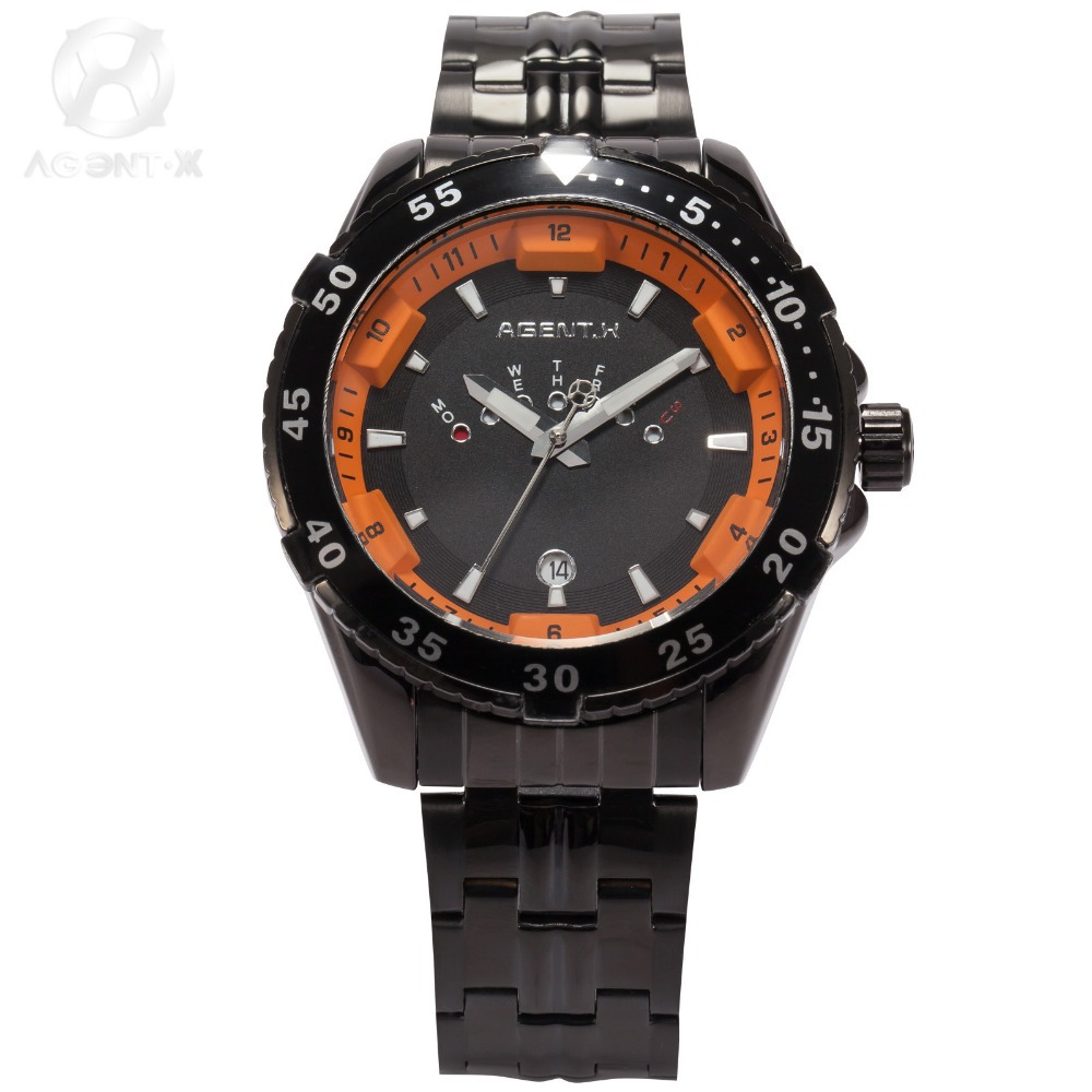 AGENTX Auto Date Day Display Relogio Full Steel Band Male Black Orange Analog Quartz Clock Wrist Men Military Sport Watch/AGX106 shark army brand new auto date day display leather band relogio analog montre homme men quartz sport military wristwatch saw122