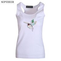 SEPTDEER New Summer Embroidery Bird Tank Women Sleeveless Ladies Camisole Funny Tank Top Vest S 6XL