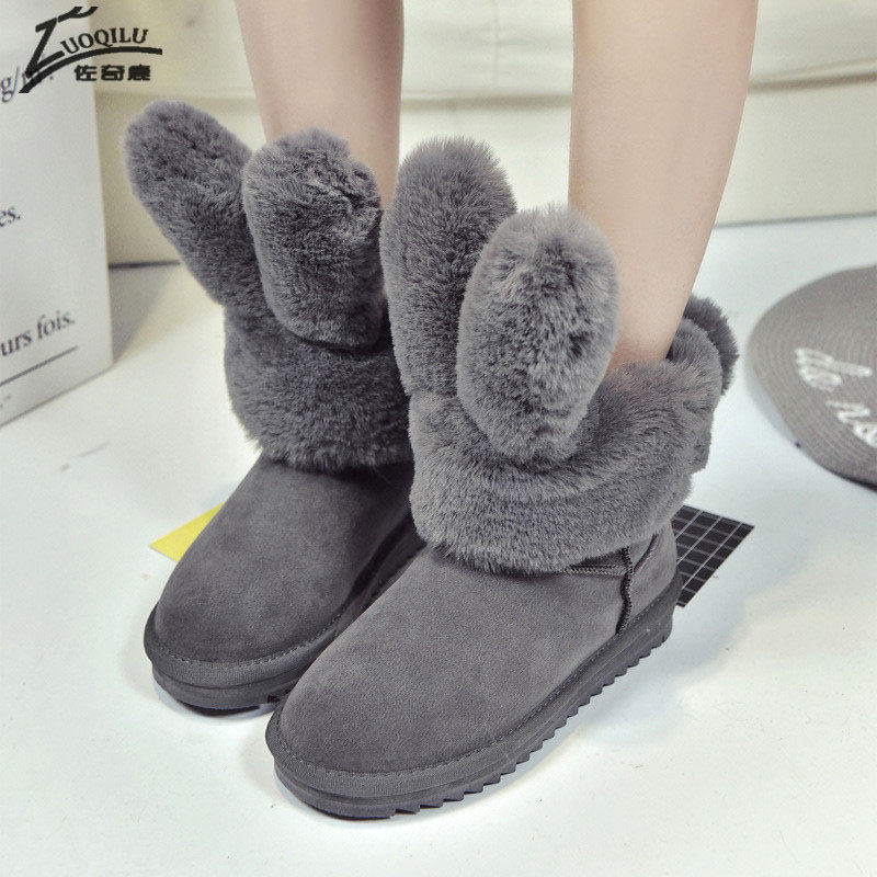 Hot Sale Shoes Women Boots Winter Slip-On Soft Cute Women Snow Boots Round Toe Flat with Winter Fur Ankle Boots 2017 cute women winter snow boots slip on soft fur warm shoes candy color ankle boots woman round toe solid flat biker boots