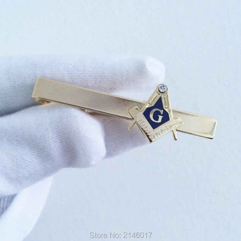 Freemason Blue Lodge Masonic Masonry Tie Clips Square and Compass Gold Color Rhinestone Fashion Mens Neck Tie Clip Bar