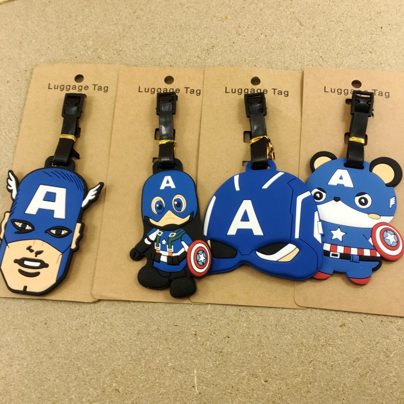 Koffer Luggage Tag Travel Accessories The Avengers Alliance American Captain Iron Man Cartoon Baggage Boarding Portable Label