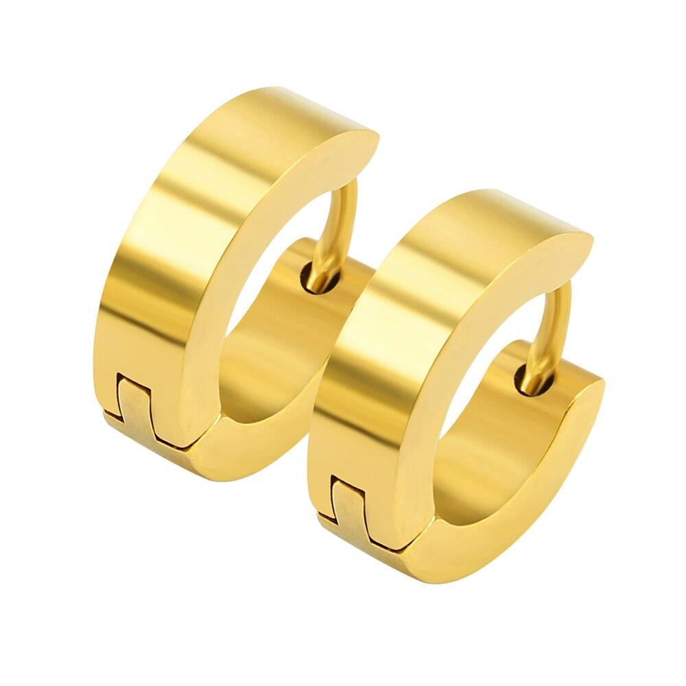 Hoop Earrings Gold Color Man Stainless Steel Huggies Small Hoop Earrings  For Women Circle Black Men Earrings Fake Creoles Binco
