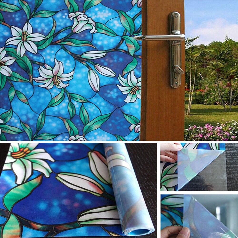 0.92x3 m Lily statique s'accrochent givré Floral vitrail Film autocollant décor maison décor 36 ''x 118''