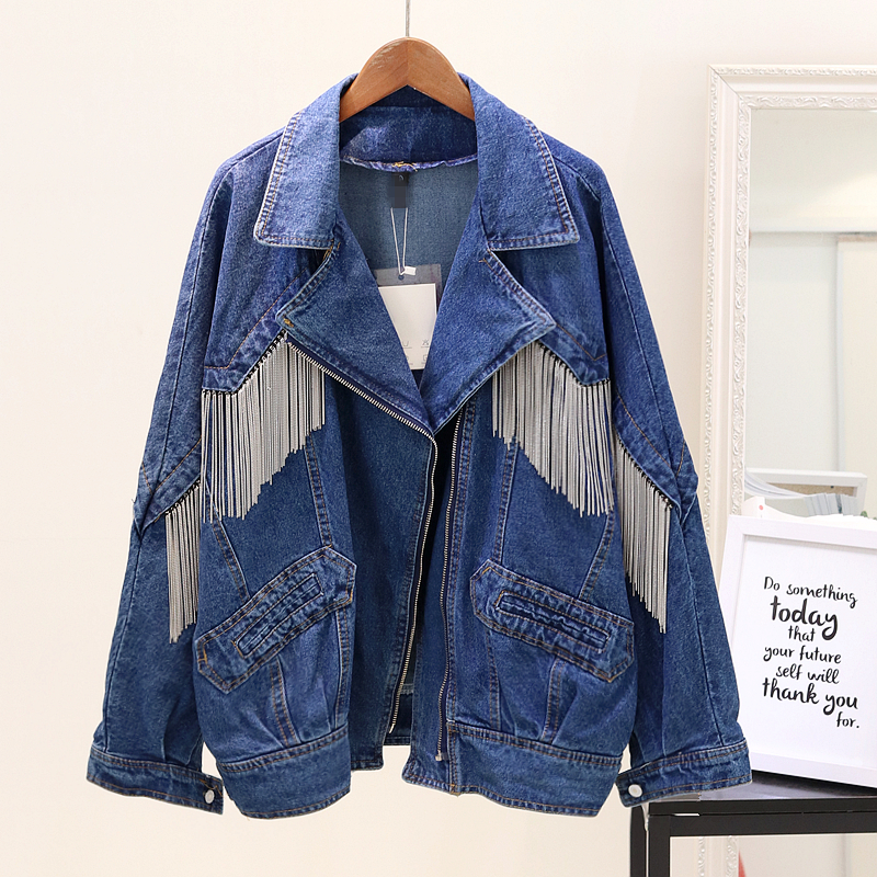 Tassel Denim Jacket Women Bomber Jacket Long Sleeves Coats Heavy Casual Jeans Jacket Colete Feminino Outerwear
