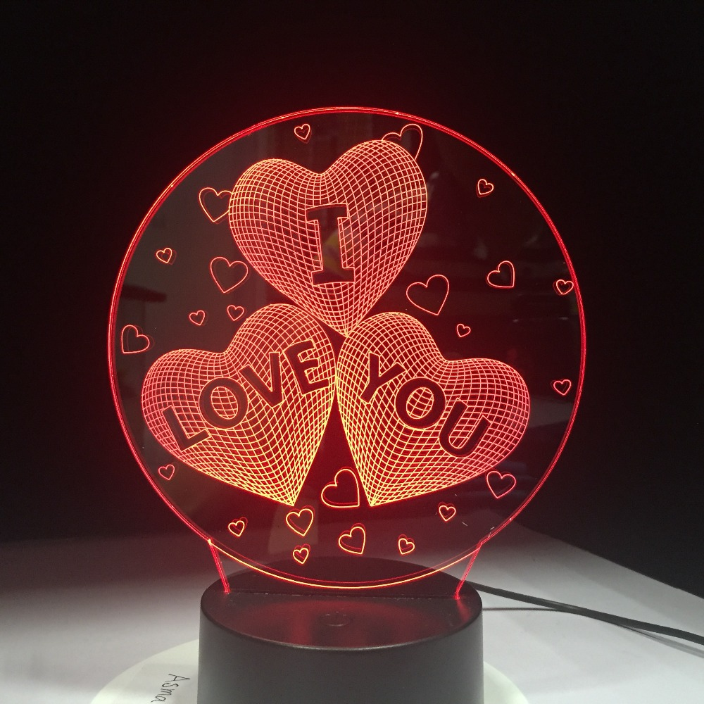Newest I LOVE YOU Colorful 3D Light USB Acrylic Lights LED Nightlight for Wedding Decoration 7 Colors in One Lamp цена