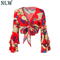 NLW Women Red V Neck Chiffon Blouse Long Flare Ruffles Sleeve 2018 Summer Sexy Top Floral
