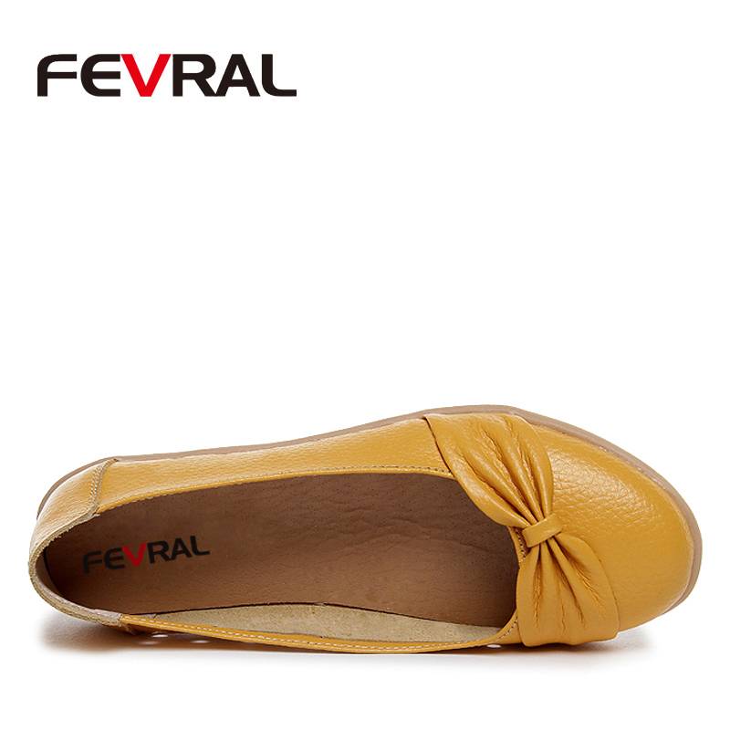 Image 2 - FEVRAL 2020 Spring And Summer Woman Oxford Shoes Ballerina Flats Shoes Woman Genuine Leather Shoes Moccasins Slip On Loafersshoes ballerina flatsshoes moccasinballerina flats -