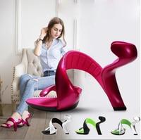 Hot Fashion Amazing Strange Heel Dress 2017 Sandals white snake sandals popular spiral design charming woman summer party shoes