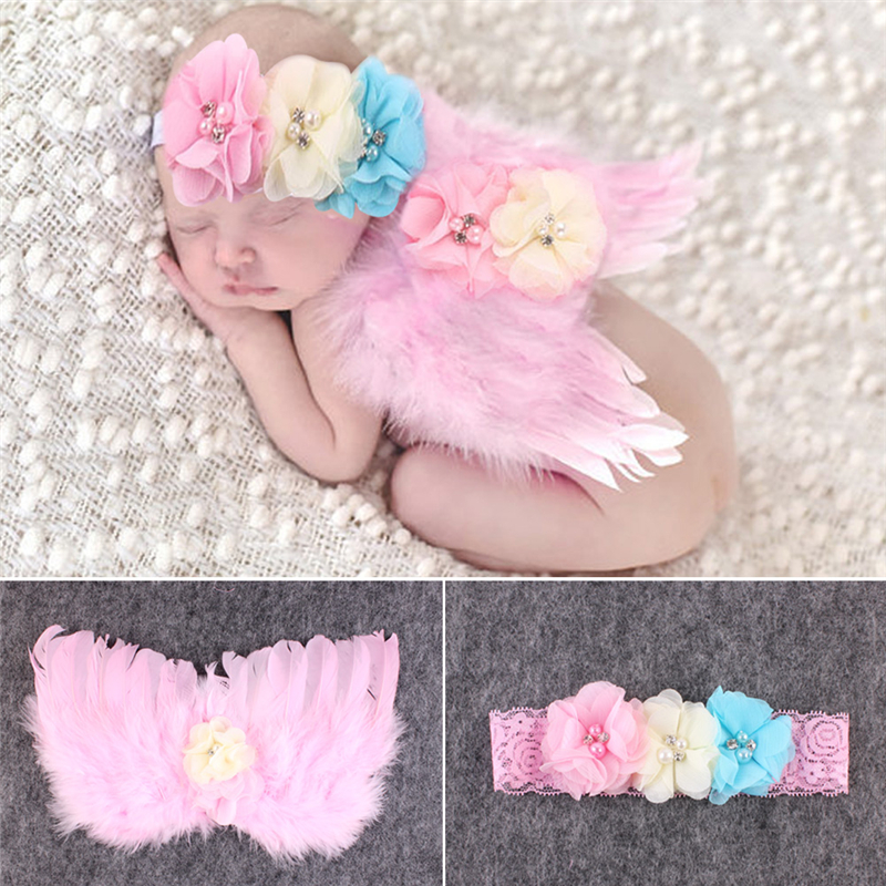 2PCS Lovely Angle Wings Feather Wings Baby Girl Headband Photo Shoot Baby Prop Accessories Photography Props For Baby 0-6 Months