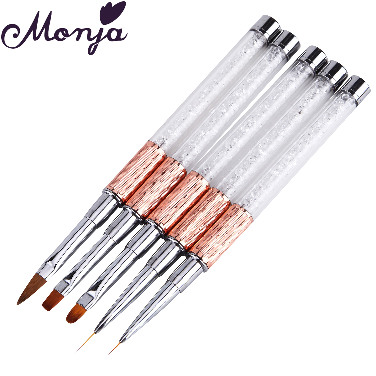 Monja Nail Art Brush Made Of Acrylic Rhinestone Handle Material For Nail Liner Brush Tool 6