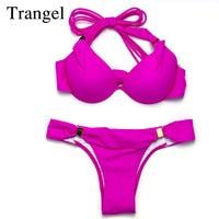 Trangel New Push Up Bikini Brazilian Style Womem Swimwear Low Waist Bikini Solid Color Sexy Bikinis