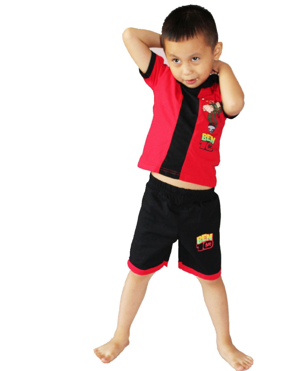 Red Short Sleeves Cotton BEN-10 Cosplay Baby Kid Clothes 2 Suit Clothing Role-playing Boy Leisure Wear