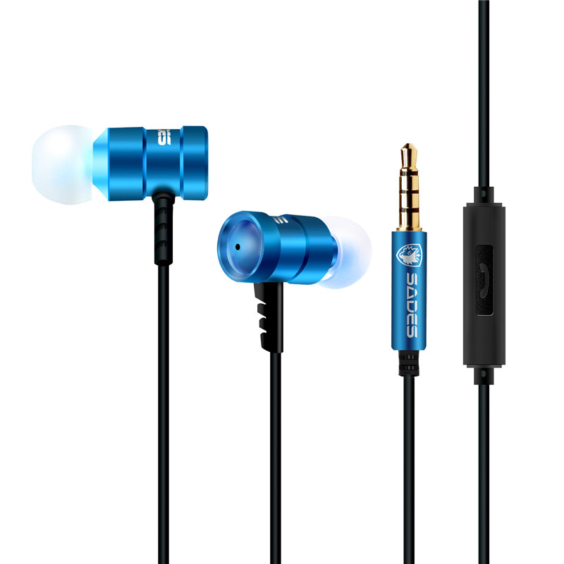 Sades SA609 Corded Headset Bass Stereo In Ear Earbud Headphone Wired Gaming Headset 3.5mm Connector for iPhone Tablets PC Laptop