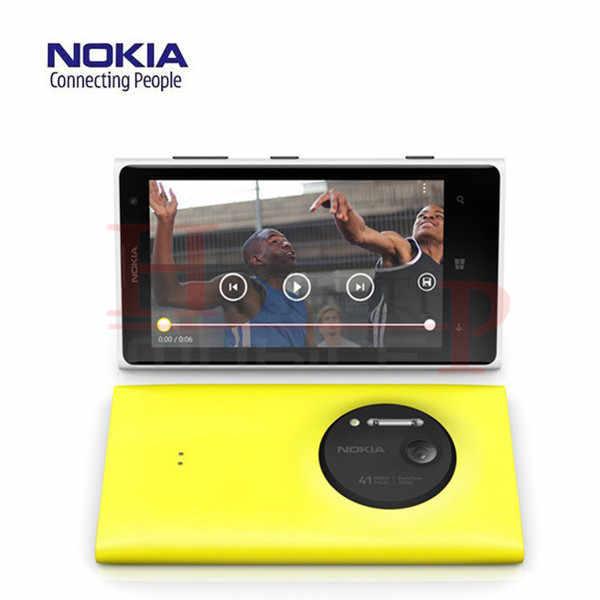 """هدية مجانية! نوكيا Lumia 1020 الأصلي الهاتف المحمول مقفلة 4.5 """"لمس شاشة 41.0MP Camra 32 GB ROM 2G ثنائي النواة WIFI تجديد"""