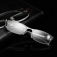100+ 150+ 200+ 250+ 300+ 350+ 400 модные деловые мужские стальные очки с полуоправой, очки для чтения, диоптрийные очки для дальнозоркости