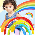 Wooden Building Blocks Color Recognition Colorful Rainbow Stacker Nesting Creative Wood Circle Set For Baby CC0167H
