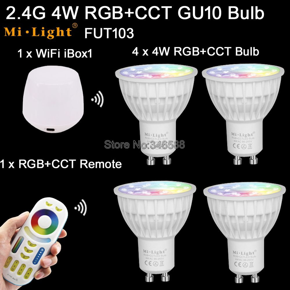 4x Mi.Light 4W RGB + CCT GU10 LED Bulb Spotlight AC85-265V FUT103 +1x WiFi iBox1 Lamp +1x 2.4G Wireless RF 4-Zone Touch Remote ...