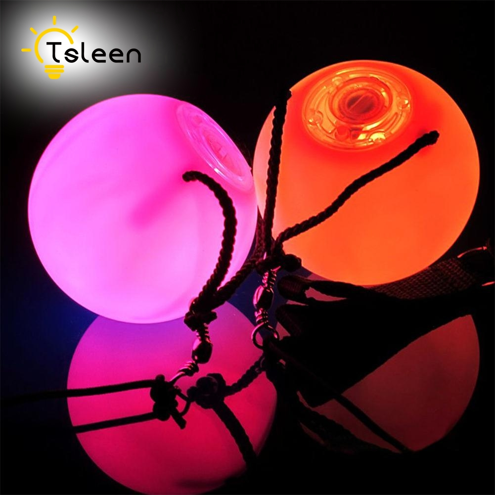 TSLEEN Free Shipping! 1 Pair RGB LED POI Thrown Balls For Professional Belly Dance Level Hand Props Waterproof With Batteries