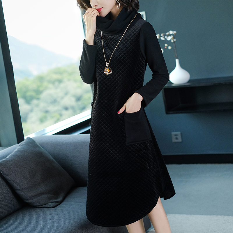Black turtleneck dress women long sleeve midi robe party dresses plus size  large thick winter spring 2019 clothes pocket loose