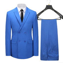 Stylish men's suits double-breasted suit Men's groom's suit with guitar incense lapel blue factory custom shirt and trousers