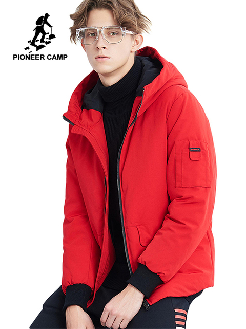 Pioneer camp new short winter parkas men brand clothing fashion hooded warm coat thick quality coat parkas male red AMF801485
